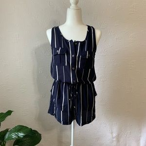 Iris  blue and white romper size medium